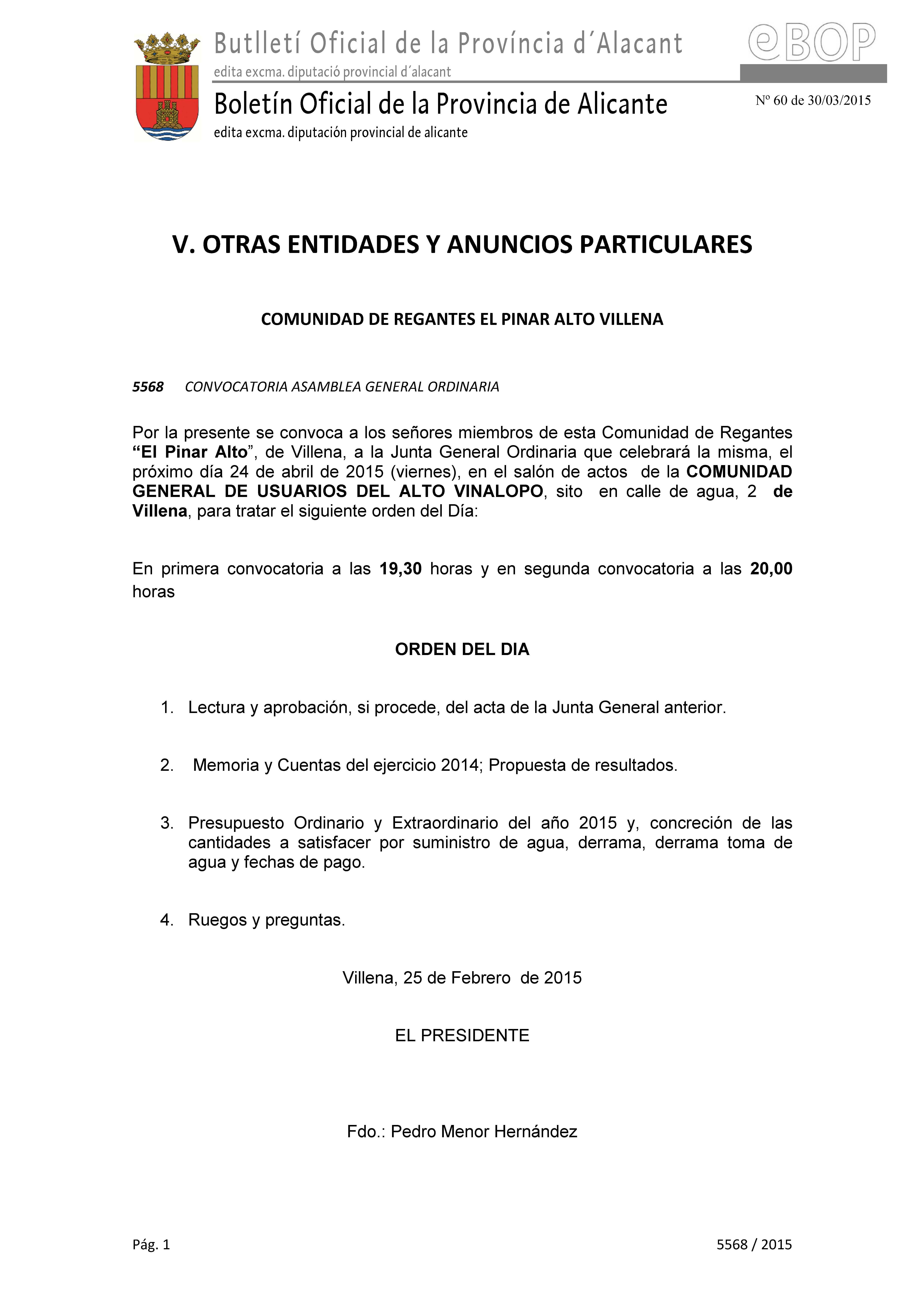 Convocatoria Junta General 24/04/2015