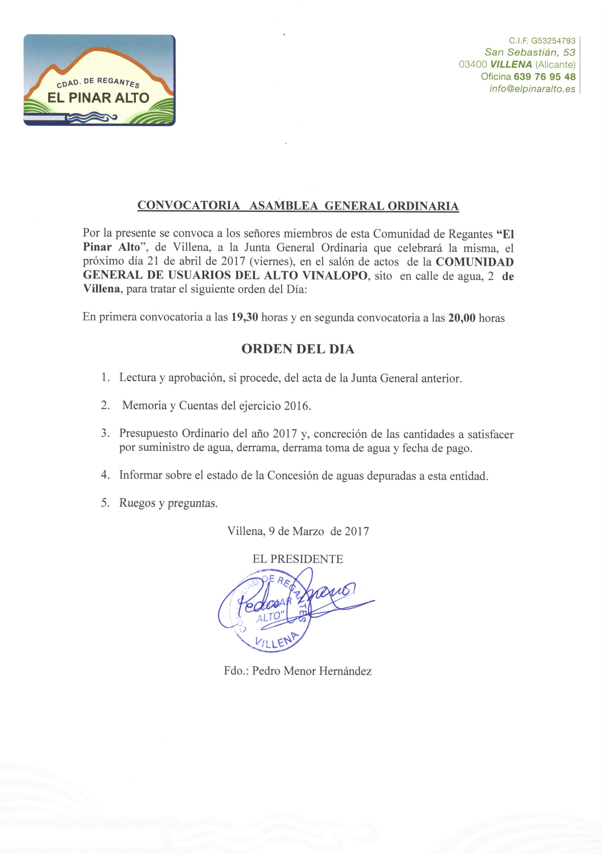 CONVOCATORIA JUNTA GENERAL ORDINARIA