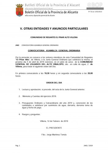 CONVOCATORIA JUNTA GENERAL ORDINARIA 05/04/2019