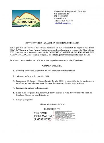 CONVOCATORIA JUNTA GENERAL 24/07/2020
