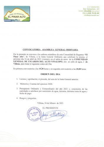Convocatoria Asamblea General Ordinaria 16-04-2021